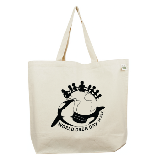 World Orca Day 14 July Recycled cotton tote bag from Ecojoia